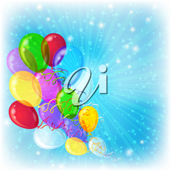 Holiday background, various balloons in the blue sky with sun rays and stars. Vector eps10, contains transparencies