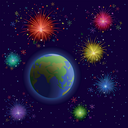 Space, planets mother Earth, holiday firework and stars. Vector