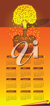 Calendar for the year 2016 in the manner of tree by autumn