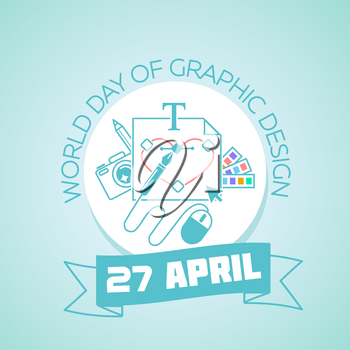 Calendar for each day on April 27. Greeting card. Holiday - World Day of Graphic Design. Icon in the linear style