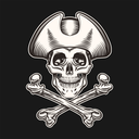 Skull in pirate hat and crossbones.Illustration in Tattoo style. Isolated on Black.