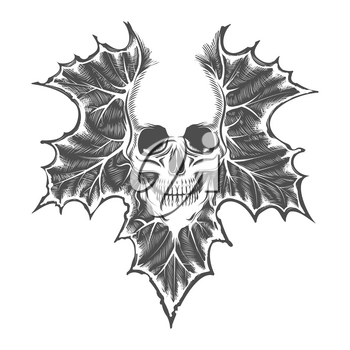 Tattoo of Skull On Maple Leaf drawn in engraving Style. Vector illustration.