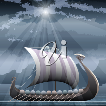 Illustration with viking ship in the fjord against northern mountain seascape