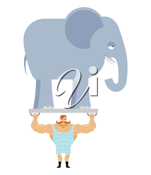 Ancient athlete and elephant. Vintage circus strongman. Bodybuilder with big moustaches acts in circus. Power room with an animal from jungle. Retro strongman and wild beast.