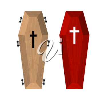 Set of coffins. Red beautiful expensive coffin and a wooden coffin. Vector illustration of accessories for death.