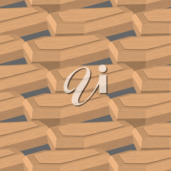 Coffin isometric illustration. Seamless pattern box for dead.
