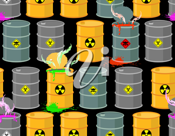 Biohazard seamless pattern. Open barrels of radioactive and toxic substances. Danger to life. Vector illustration.