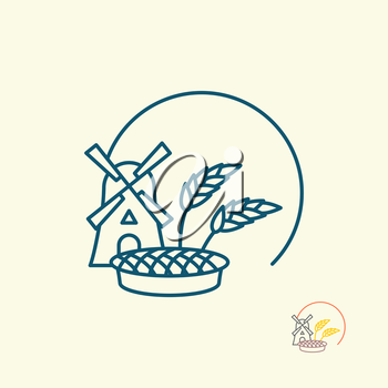 Windmill and grain. Ears of rye and pie. Logo for fresh bread or bakery. Logo for production of fresh bread and pastries.