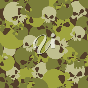 Military texture of skulls. Camouflage army seamless pattern from head skeletons. Scary  seamless background for soldiers.
