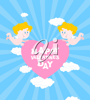 Happy Valentines day. Greeting card for Valentines day - Valentine. Two Angels hold heart. Cute funny cupids and pink heart. Clouds and skies.