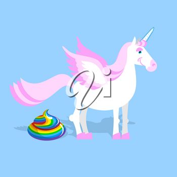 Unicorn pooping color turd. Fantastic animal in sky. Fabulous beast and rainbow shit. Mythical creature with horn Leakage chair