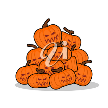 Pile of pumpkins for Halloween. Lot of vegetables for terrible holiday. horrible fruit