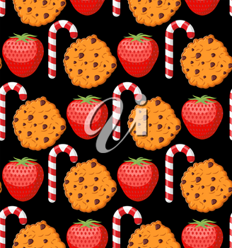 Sweet pattern. Cookies and mint stick ornament. Strawberry background. Peppermint Christmas candy. Dessert texture