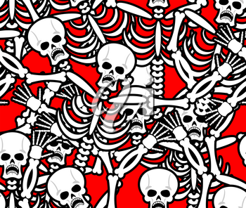 Hell seamless pattern. Skeleton in Sinners background. Ornament of dead. Bones and skull texture. infernal torments. Religious background