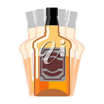 Drunkenness. Whiskey Bottle seeing double. Drink Scotch hallucination. Tequila on white background. Alcohol illustration