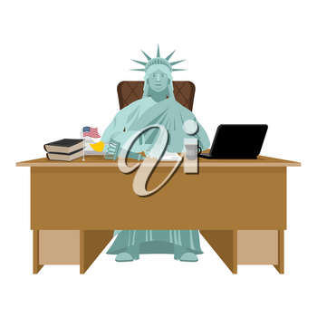 Statue of Liberty sitting in office. American boss at table. Businessman from United States at desk. Workplace supervisor. Director desktop. Laptop and phone. Cup of coffee and   Chair. Flag USA