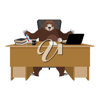 Russian boss. Bear sitting in an office. Businessman from Russia at desk. National folk chief. Beast  leader. Workplace supervisor. Director desktop. Laptop and phone. Cup of coffee and Chair