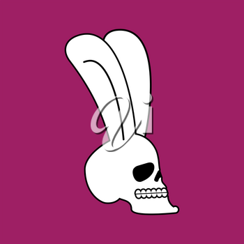 Rabbit skull. White  bunny with skeleton head with ears