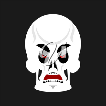 Skull angry Emoji. skeleton head grumpy emotion isolated