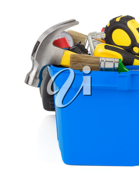 set of tools in construction toolbox isolated on white background