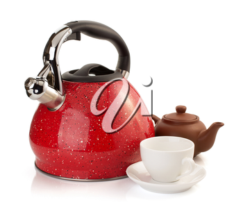 cup and kettle isolated on white background