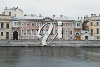 Fontanka River Embankment, view from the party of the Summer garden in the city of St. Petersburg.
