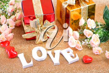 Valentine's day concept with gift box and letters love
