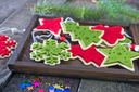 color christmas decoration on the wooden table