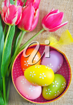 easter eggs on a tabble, easter background