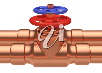Plumbing pipeline with cold water and hot water pipes water supply system industrial construction: red valve and blue valve on two copper pipes closeup isolated on white background, industrial 3D illu