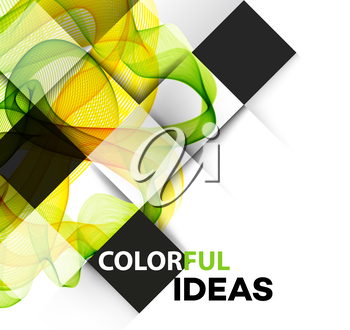 Vector Abstract Green Curved Lines Background Brochure Design