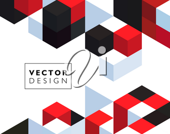 Abstract background with red and black color cubes for design brochure, website, flyer. EPS10
