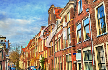 Traditional dutch houses on a street of Leiden, the Netherlands