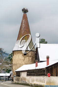 Tower in Ribeauville, a town at the foot of the Vosges Mountains. Grand Est region of France