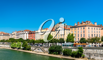 View of the riverside of the Saone in Lyon - Auvergne-Rhone-Alpes, France