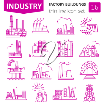 Factory buildings icon set. Thin line icon design. Vector illustration