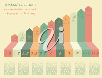 How much time we have. Lifetime elements. Infographic. Vector illustration