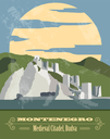 Montenegro landmarks. Retro styled image. Vector illustration