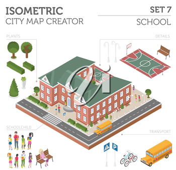 Flat 3d isometric school and city map constructor elements such as