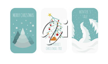 Flat style christmas holiday elements for greeting card, poster design. Vector illustration