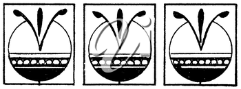Royalty Free Clipart Image of a Border With Three Designs in Squares