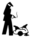Royalty Free Clipart Image of a Man Who Shot Another Man