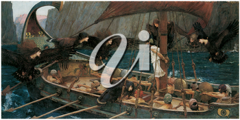 Royalty Free Clipart Image of Ulysses and the Sirens by John William Waterhouse