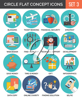 Circle Colorful Concept Icons. Flat Design. Set 3. Business, Finance, Education, Technology, Travel Symbols and Metaphors.
