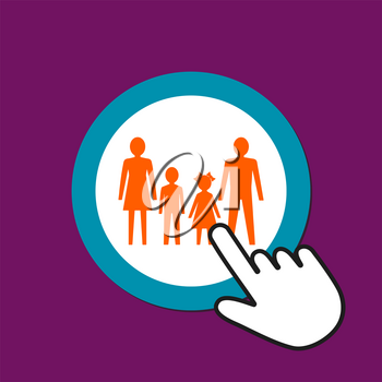 Man, woman, girl and boy together icon. Full family concept. Hand Mouse Cursor Clicks the Button. Pointer Push Press