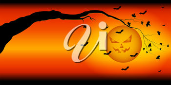 Silhouette of a tree branch on the background of the ominous sky of Halloween with the moon and bats