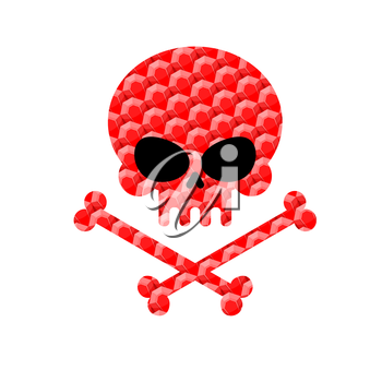 Skull with bones from rubies. Jewelry symbol of death. Vector illustration