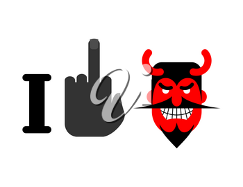 I hate Satan. Fuck and red devil with horns. Emblem for lovers of God
