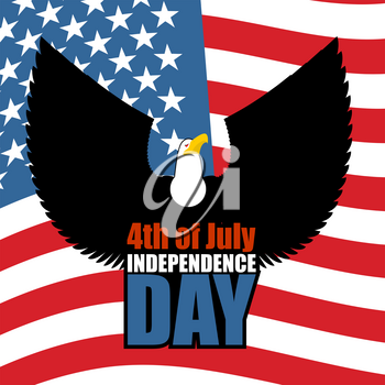 Independence Day of America. Eagle and USA flag. National patriotic American holiday 4th of July. Large predatory bird spread its wings