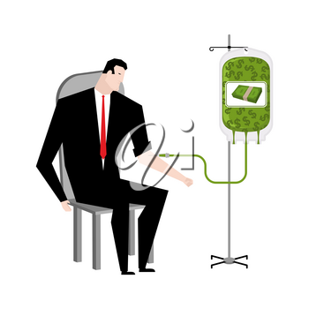 Businessman transfusion of money. Donation of cash bag. Transfusion of finance. Business illustration